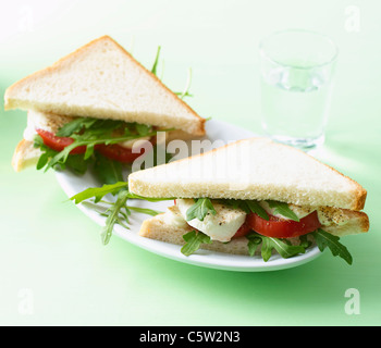 Toast with Tomato, Mozzarella, Mayonnaise and rocket salad on plate - Stock Photo
