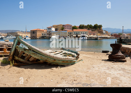 Old fishing boat. Chania, Crete, Greece - Stock Photo