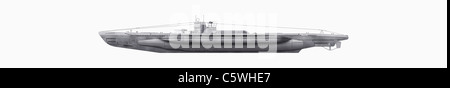 Illustration of submarine against white background, close up - Stock Photo