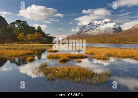 Loch Clair and Liathach in autumn, Torridon, North-west Scotland, Great Britain. - Stock Photo