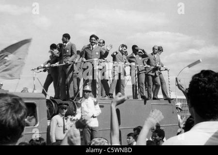 Arrival in Brasilia of Brazilian Football Team, World Champion, 1970 - Stock Photo