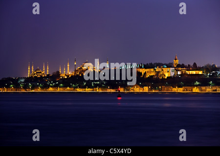 From left to right, the Blue Mosque (Sultanahmet Camii), Hagia Sophia and the Topkapi palace. Istanbul, Turkey - Stock Photo