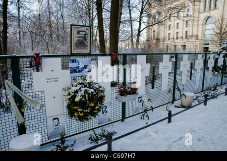 Memorial to victims trying to escape East Berlin and killed by East German border guards, Ebertstrasse, Berlin, - Stock Photo
