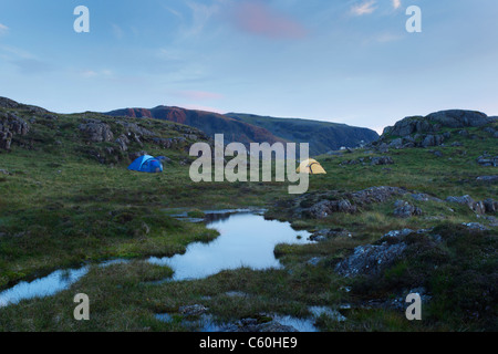 Wild Camping on Great Round How. Lake District National Park. Cumbria. England. UK. - Stock Photo