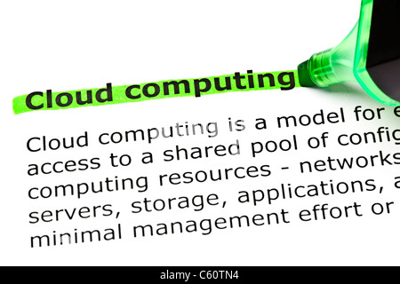 'Cloud computing' highlighted in green with felt tip pen - Stockfoto