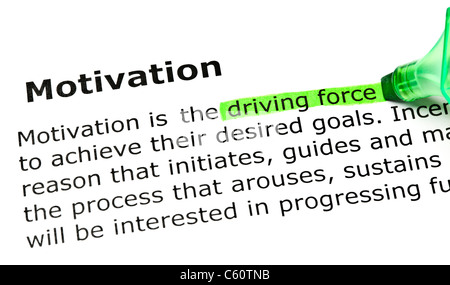 'Driving force' highlighted in green, under the heading 'Motivation' - Stockfoto