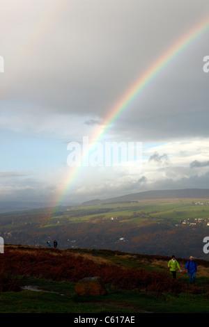 Rainbow on Ilkley Moor - Stock Photo