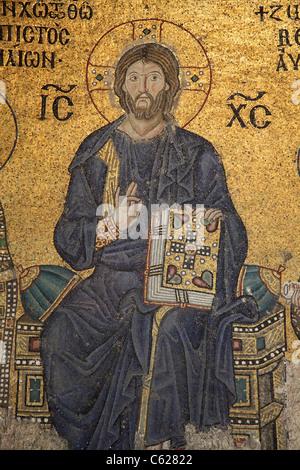 Jesus Christ Mosaic in Hagia Sophia Mosque, Istanbul Turkey - Stock Photo