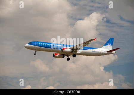 British Midland BMI Airbus 321-232 Airliner.  SCO 7576 - Stock Photo