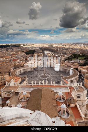 The view over The Vatican and Rome from the top of St Peters Basilica. - Stock Photo