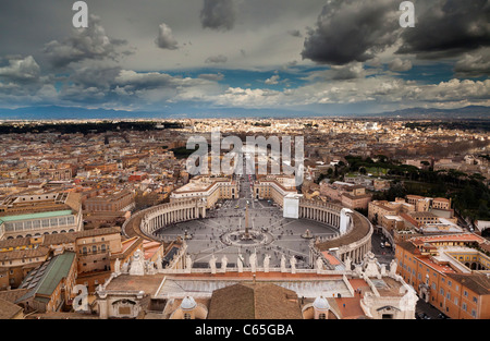 Landscape view over Rome from the top of St Peters, Vatican City. - Stock Photo