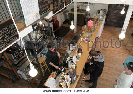 Lower Manhattan New York City NYC NY SoHo Broome Street Milux Cafe restaurant cafe casual dining woman man food - Stock Photo
