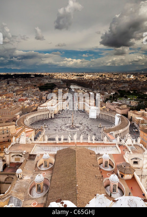 The view over Rome from the top of St Peters Dome, Vatican City. - Stock Photo