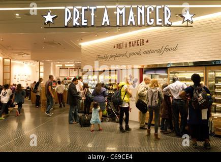 Pret a Manger restaurant, Terminal 3, heathrow airport London UK - Stock Photo