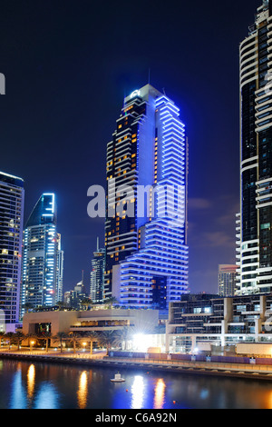 Grosvenor House illuminated in blue, Dubai Marina, Dubai, United Arab Emirates, Middle East - Stock Photo