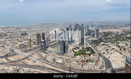 View of Dubai SHEIK ZAYED ROAD, from the highest observation deck in the world, AT THE TOP, Burj Khalifa, Dubai - Stock Photo