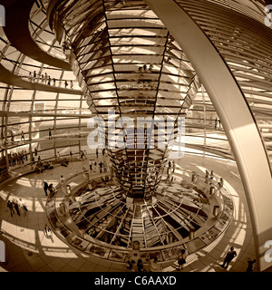 Reichstag buidling , roof top terasse cupola by Sir Norman Forster, Berlin,  - Stock Photo