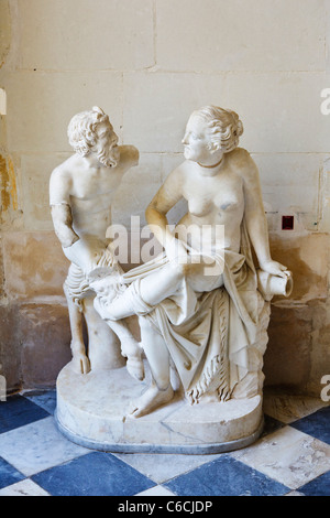 Marble statue of a Satyr and woman at Villandry, Loire Valley, France, Europe - Stockfoto