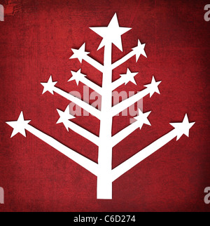 Paper Christmas tree over grunge texture background - Stock Photo