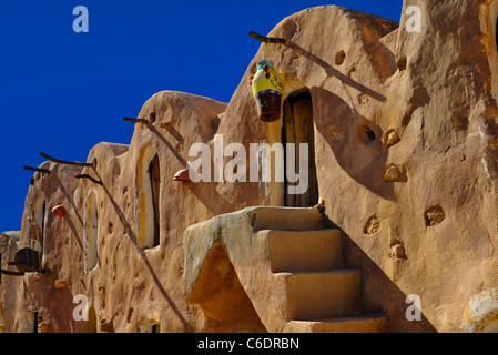 A graphic image of the ancient Tunisian village of Ksar Hadada used in the Star Wars movies - Stock Photo