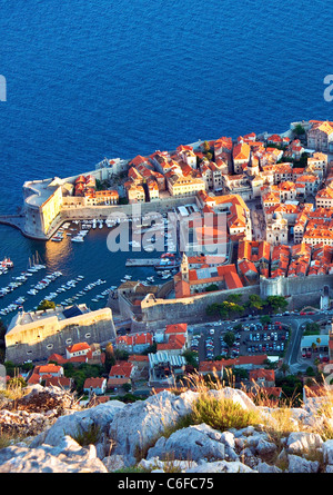 Dubrovnik,Croatia,city walls,Harbour,old town,late evening - Stock Photo