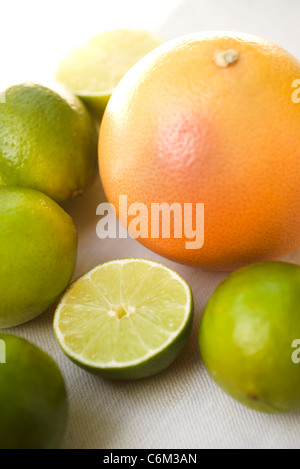 Fresh grapefruit and limes - Stock Photo