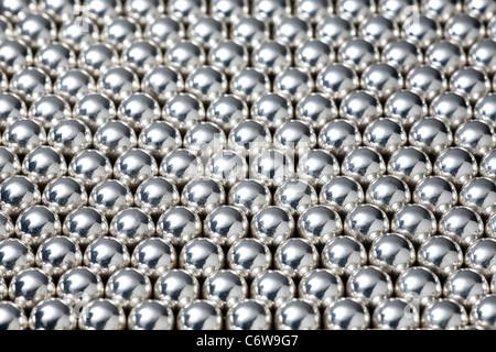 A shot in the studio of lined up steel balls. Billes d'acier alignées. Prise de vue en studio. - Stock Photo