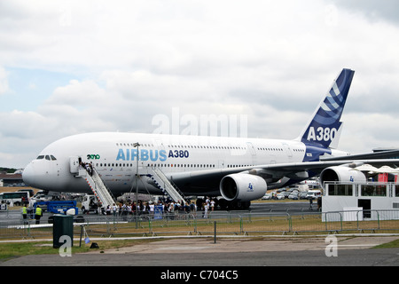 Display by the Airbus A380 at the Farnborough International Airshow - Stock Photo