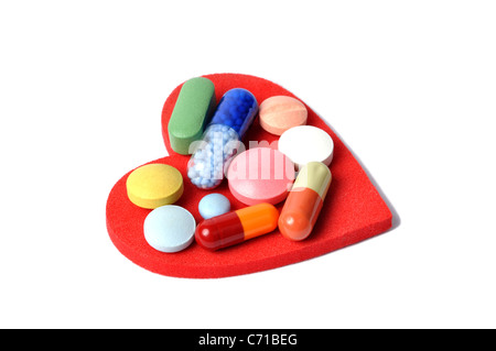 Heart and Pills - Stock Photo