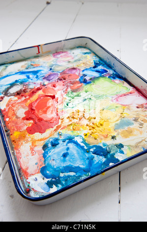 watercolor palette in an artist's studio - Stock Photo