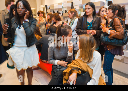 Paris, France, Crowd French Female Teenagers Shopping 'Paris Fashion Night', Luxury Shoes Store - Stock Photo