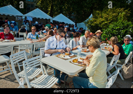 Paris, France, French Food and Wine Festival, St. Pourcinois, French People Picnicking outside - Stock Photo