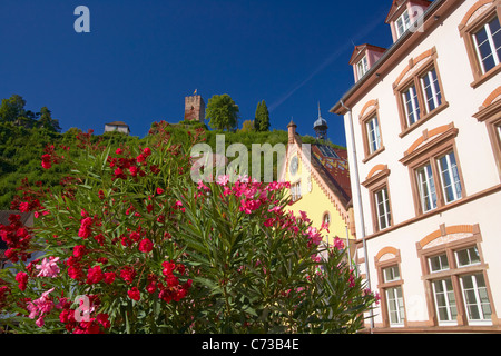Castle and town hall at the town of Hornberg Summer morning Southern Part of Black Forest Black Forest Baden-Wuerttemberg - Stock Photo