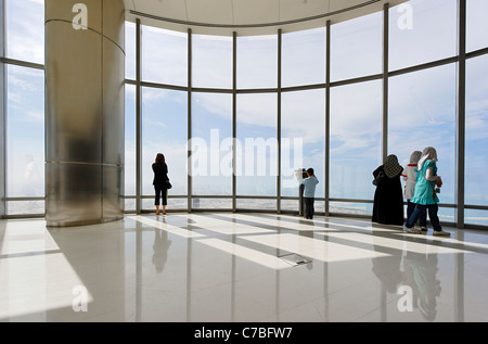 The highest observation deck in the world, AT THE TOP,  BURJ KHALIFA, the tallest tower in the world, Dubai, United - Stock Photo