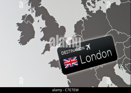 A close-up of a computer display indicating the location of Heathrow Airport, London, United Kingdom. - Stock Photo