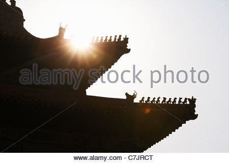 Silhouette of roof of Chinese building - Stock Photo