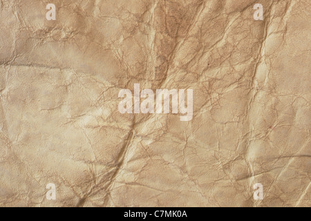 wrinkled leather from a fleece for background - Stock Photo