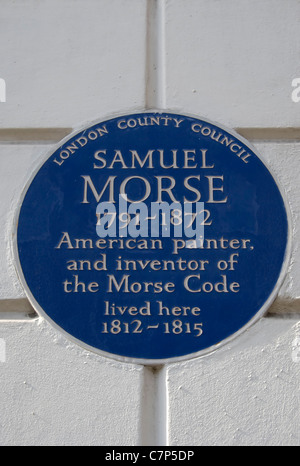 london county council blue plaque marking a home of samuel morse, morse code inventor and painter, cleveland street, - Stock Photo
