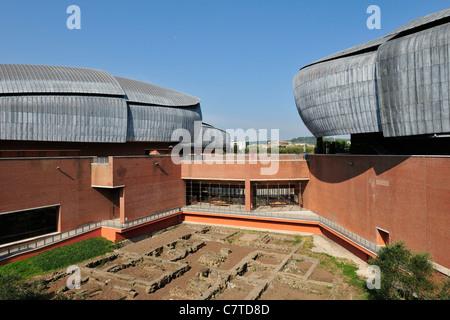Rome. Italy. Auditorium, Parco della Musica, designed by Renzo Piano & the remains of an ancient roman villa. - Stock Photo