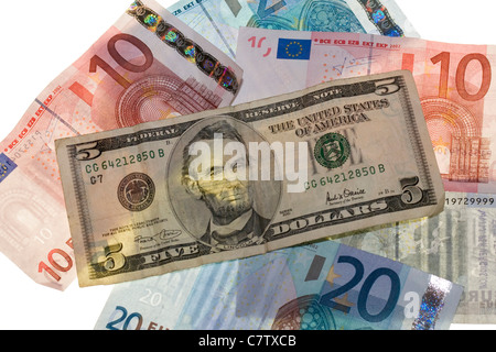 Close-up of US and Euro currency - Stock Photo