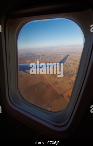View out of airplane window - Stock Photo