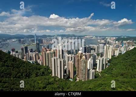 The famous view of Hong Kong from Victoria Peak with the central business district and Victoria Harbour below. - Stock Photo