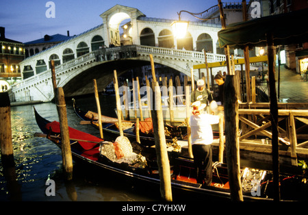 Europe, Italy, Venice, The Grand Canal with the Rialto Bridge at dusk - Stock Photo