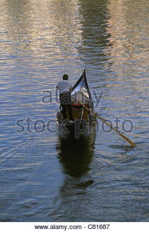 Italy, Venice. Gondola on the Canal Grande - Stock Photo
