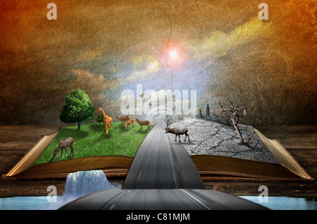 Creative concept image of country and urban concept coming out of pages in magical book - Stock Photo