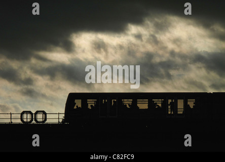 DLR - Docklands Light Railway - train in London - Stock Photo