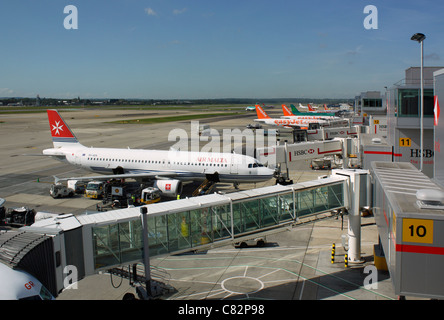 Aircraft on the ramp at Gatwick Airport - Stock Photo