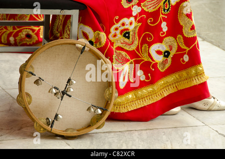 Ukraine, Yalta, Livadia Palace. Ukrainian folkloric show. Traditional costumes and tambourine. - Stock Photo