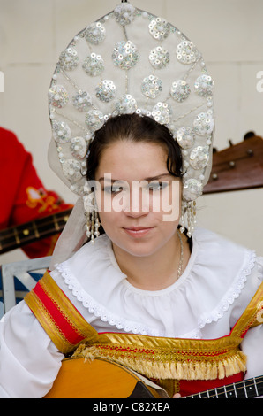 Ukraine, Yalta, Livadia Palace. Ukrainian folkloric show with traditional costumes. - Stock Photo