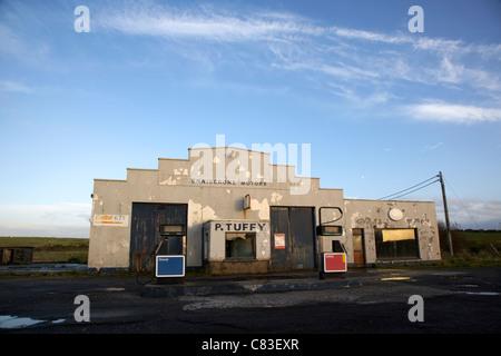 Derelict Old Garage Petrol Gas Station Llanrug Gwynedd